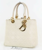 Authentic CHRISTIAN DIOR Ivory Quilted Leather Lady Dior Hand Bag Purse #34160 - $579.00