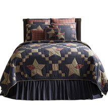 3-pc King ARLINGTON Quilt and Shams Set -Navy Based 5 Patch Stars -VHC Brands