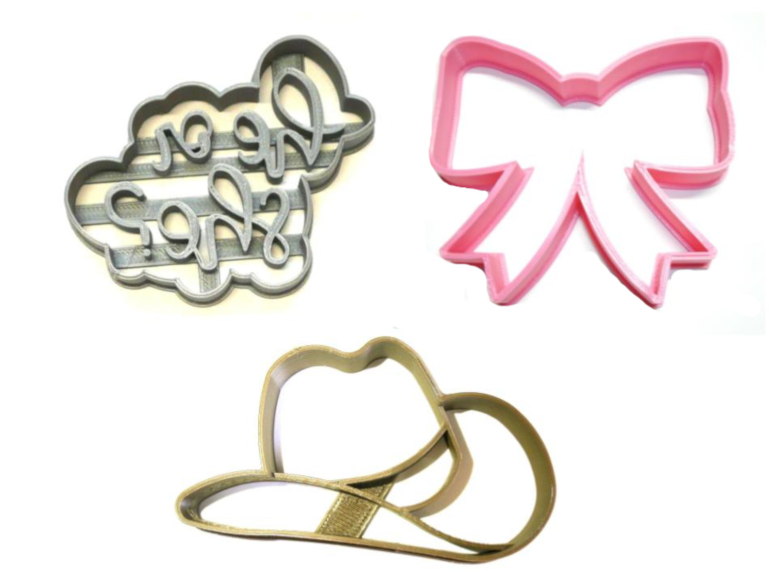 Primary image for Cowboy Or Cowgirl Gender Reveal Baby Shower Set Of 3 Cookie Cutters USA PR1202