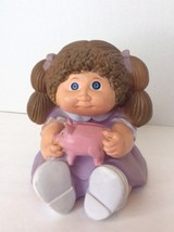 Cabbage Patch Kids CPK Piggy Coin Bank 1983 7in Tall Brown Hair Purple Dress - $18.50