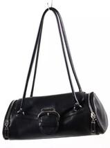 Cole Haan Black Leather Mini Duffel-Style Baguette Barrel Handbag - $9.49