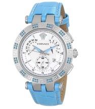 Versace 23C935D002S535 V Race Topaz Blue Leather Ladies Watch - $2,578.91