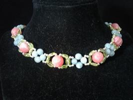 "17.5"" Beaded Necklace, Rhodochrosite, Larimar, Peridot, Hand Made, #479 - $70.00"