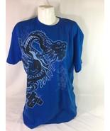 The Karate Kid Men Blue Shirt Size XL Dragon Logo 100% Cotton Bin58#38 - $31.56