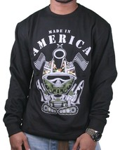 Entree Lifestyle Made in America Army Tank Long Sleeve Crew Neck Sweatshirt NWT
