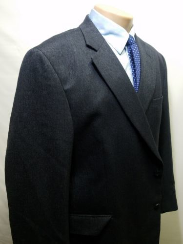 JOS. A. BANK MEN'S SPORTS COAT 100% 48R WOOL SC711585 TWO-BUTTON CHARCOAL TWEED