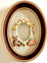 Vintage 1979 Crewel Embroidery Baby Picture Frame Wall Hanging Nursery Art - $22.00