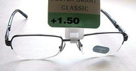 "Foster Grant Classic ""Carson"" Men' Semi-Rimless Black Readers +1.50 - $19.99"