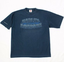 Harley Davidson a Coste Camicia New York Uomo L Large T-Shirt Blu Datato... - $28.50
