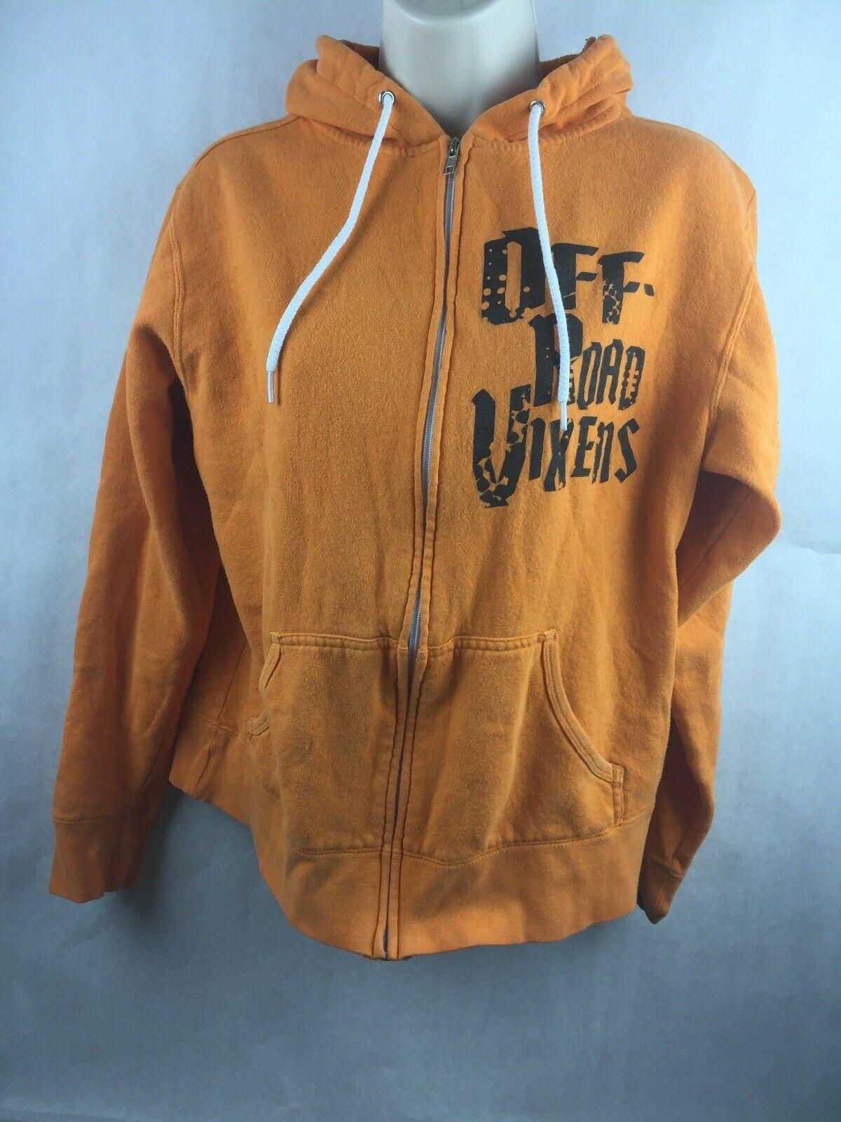 Off-Road Vixens Cotton Poly Orange Hooded Zipper Sweatshirt Size M