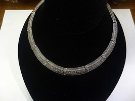 vintage marcasite  choker necklace, sterling silver .magnificent piece - $222.75