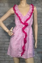 Ann Taylor Loft Ruffle Dress MP M P Medium Petite Pink White Dot Sleeveless - $30.59