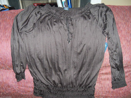 Faded Glory Crinkle Peasant Blouse Size 4X (26W-28W) Women's NEW HTF - $20.25