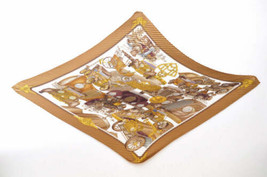 "HERMES Pleat Scarf ""automobile"" Brown 100% Silk Auth 3853 - $230.00"