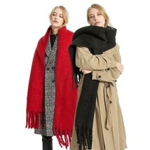 Cashmere Wool Scarf Women Large Tippet Winter Tassel Stole Thick Warm Solid - $36.57