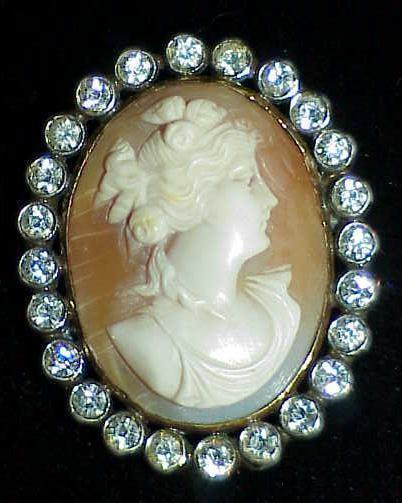 Primary image for 9ct Victorian Shell Cameo Paste 9k Gold Silver Brooch Pin Antique Mixed Metal