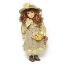 """Porcelain Collectible Doll Beige Dress Red Hair With Hat 17"""" Vintage - $22.74"""