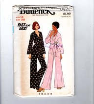 1970s Butterick 3414 Wrap Top Pants Belt Palazzo Flared Pants Pyjama Pat... - $14.36