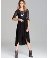 NWT FREE PEOPLE SNAP OUT OF IT LONESOME DOVE BLACK HI-LO HEM DRESS 2 - $109.99