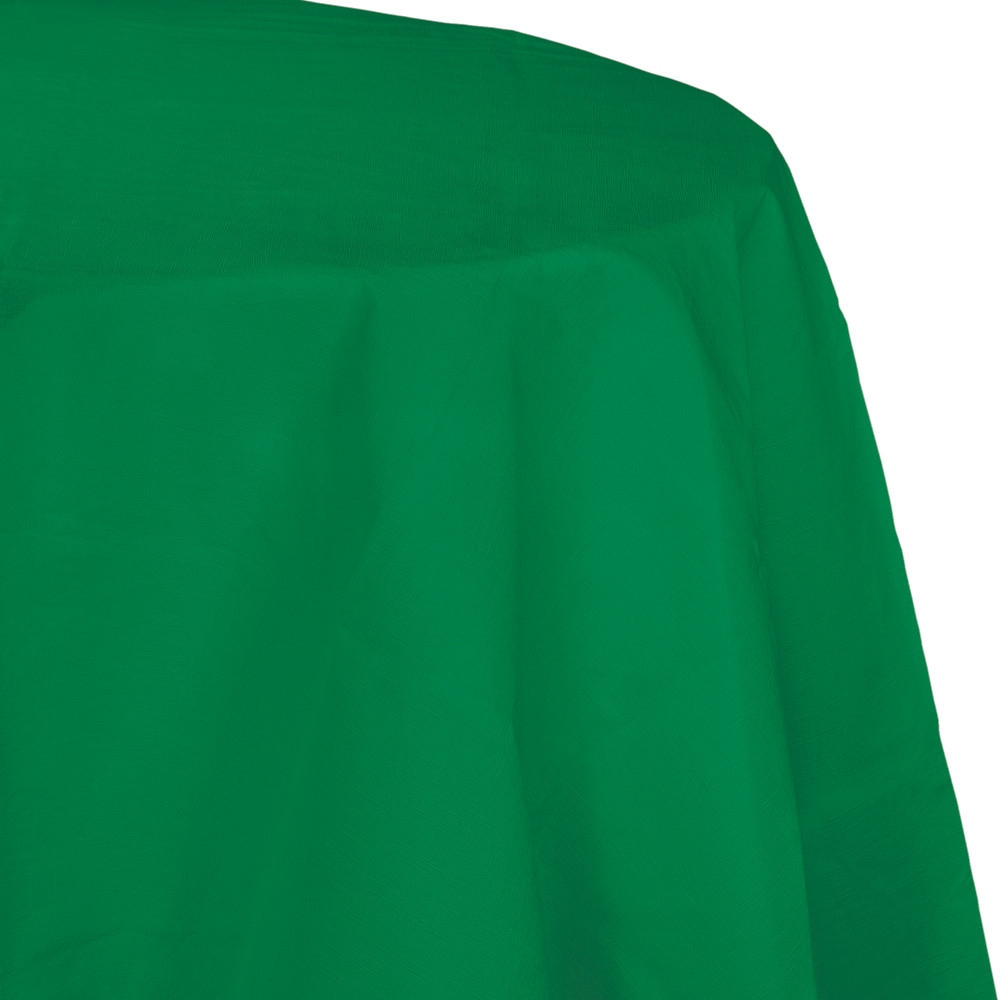 82 inch Octy Round Tissue/Poly Tablecover Emerald Green/Case of 12