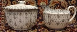 Spode FLEUR DE LYS GREY (BONE) Creamer and Sugar Bowl - $112.16