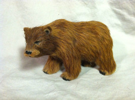 Wild Brown Grizzly Bear Animal Figurine - recycled rabbit fur image 1