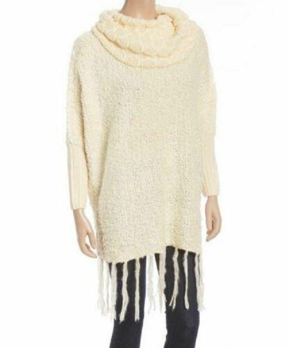 Small Women's California MoonRise Oversized Sweater Pullover Fringe Cowl Neck