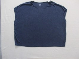Old Navy Women Top 2XL Navy Solid Loose Sleeveless Linen Polyester 18127 - $7.85