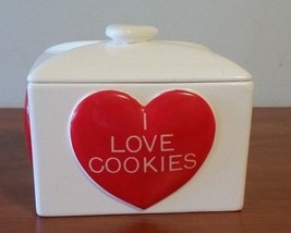 Ceramic Ware I Love Cookies Cookie Jar With Big Red Heart's By Gourmet K... - $24.75