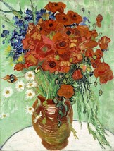 Vase with Daisies and Poppies Painting by Vincent van Gogh Art Reproduction - $32.99+