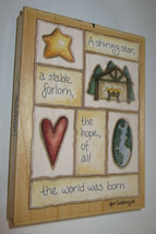 Shining Star Stable Forlorn Rubber Stamp Hope World Was Born Manger Larg... - $11.63