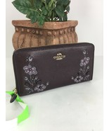 Coach Wallet Floral Embroidery  Pebbled Brown Leather 11885 Zip Accordio... - $89.09