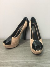 Louis Vuitton Beige Black Suede High Heel Shoes Open Toe Platform Pumps Sz US 7 - $256.81