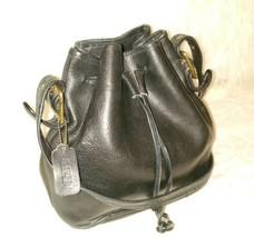 Coach Vintage Black Leather Drawstring Bucket Cross Body Shoulder Bag US... - $37.04