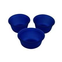 Anchor Hocking Oval Custard Cups 10 oz Set of 3 Satin Frosted Cobalt Blu... - $10.36