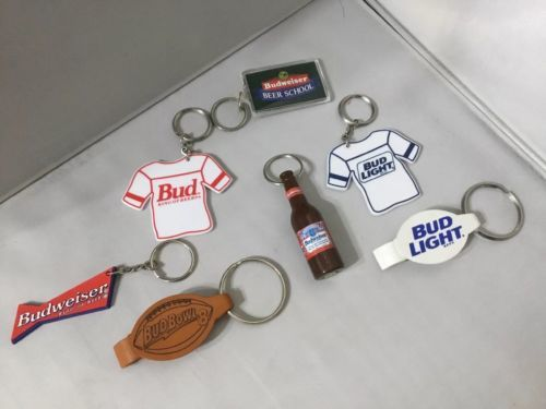 LOT OF 7 BUD BUDWEISER KEY CHAINS BOTTLE OPENER Openers P