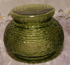 """Vintage NAPCO Cleveland OH Forest Green Rippled Glass Vase / Bowl 5 1/4""""T x 8""""W image 4"""