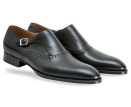 Handmade Men's Black Monk Strap Dress/Formal Leather Shoes image 3