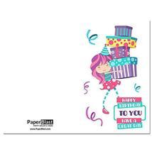 Girl Holding Presents Birthday Card - with Custom Handwritten Message - ... - $4.46
