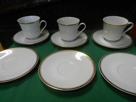 Great Sheffield Regency Gold Porcelain Set Of 3 Cups & Saucers & 3 Free Saucers - $19.39
