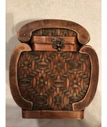 Woven Storage Container / Basket around Wooden box; Hard to find one like this! - $24.95