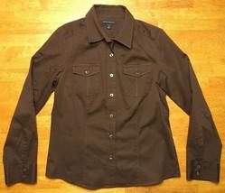 Banana Republic Women's Brown Long Sleeve Dress Shirt Size Medium - $14.01
