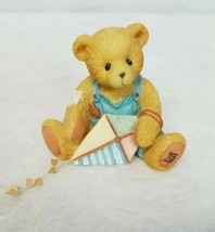 Cherished Teddies Figurine Mark Bear Kite Play Outdoors Garden March 1993 - $18.12