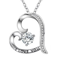 925 Real Sterling Silver Charm Women's Love Heart Pendant Necklace Jewelry - $83.34