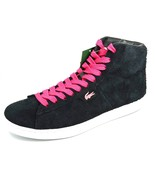 LACOSTE LIVE Broadwick Hi Top Shoes Suede Leather Boots Black/Pink 10.5,... - $45.00