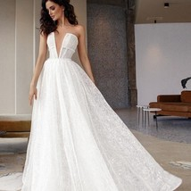 Glitter Shiny Lace Sexy Illusion Deep V-neck Sleeveless A-line Beach Bridal Gown image 1