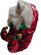 Color Changing Sequin Santa Slippers Red n Green Ugly Christmas Sweater S/M - $19.97