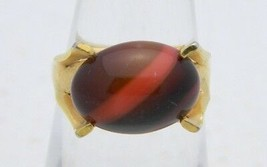 VTG SARAH COVentry Gold Tone Red Brown Stripe Art Glass Cabochon Ring Size 5.5 - $19.80