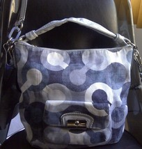 AUTH COACH KRISTIN OP ART HOBO CROSSBODY BAG PURSE 14860 BLUE/DENIM $298... - $96.10