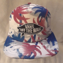 Vans Off The Wall White Trucker Snapback Hat Floral Hawaiian Print Patch Logo - $14.69